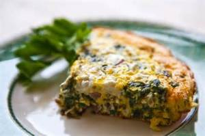 Cheesy broccoli and kale frittata